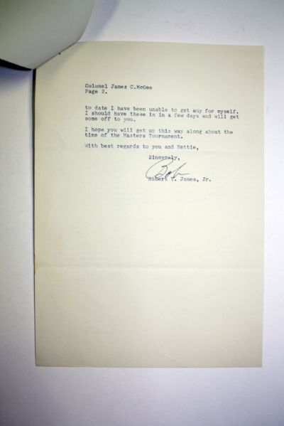1947 Bobby Jones Signed Letter With Masters Tournament Mention