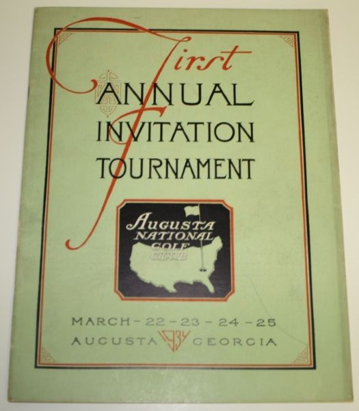 1934 Masters Program - First Annual Invitational Tournament GREAT CONDITION