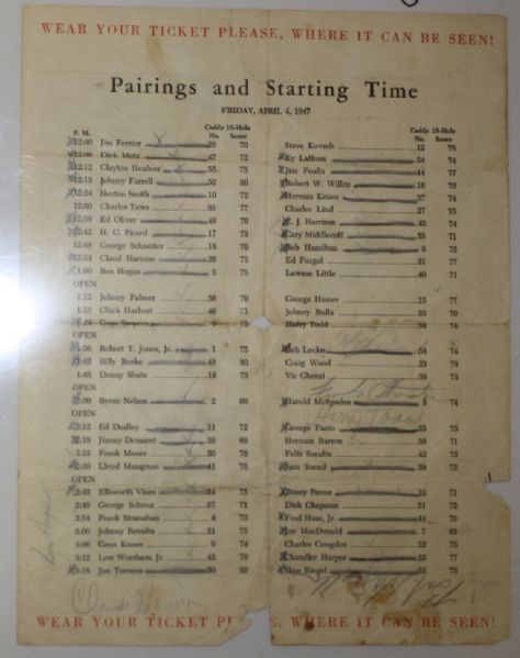 47 Masters Pairings sheet signed By 24 Including CLAUDE HARMON, Demaret. Middlecoff, Hogan, Picard JSA COA