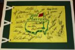 Masters flag signed By 29 Champions Including Many Key Deceased + TIGER JACK ARNIE WATSON JSA COA