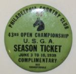 1939 US Open Badge - Rarely seen green complimentary ticket -  NELSONS WIN & SNEADS COLLAPSE