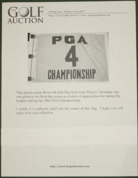 Actual Course Flown 4th Hole Flag from Gary Players' 3rd Major Win at 1962 PGA