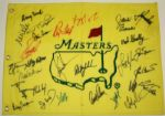 Undated Masters flag autographed by 28 Champions TIGER, ARNIE, JACK, PHIL +24 More JSA COA