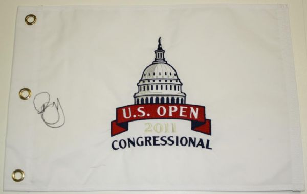 Rory McIlroy Autographed White  2011 US Open Flag