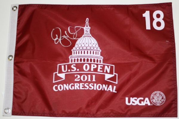 Rory McIlroy Autographed Red US Open Flag