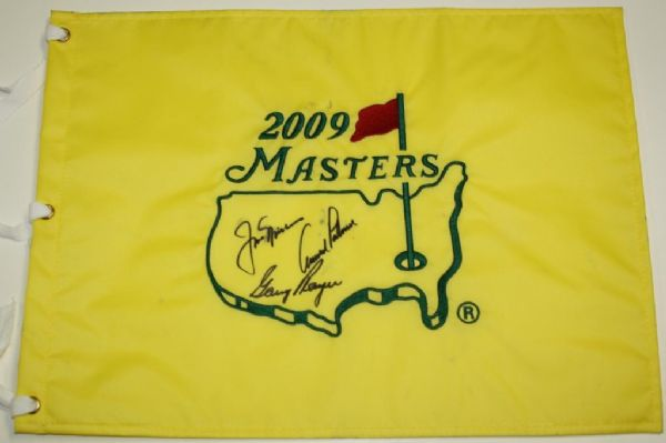 Big Three Autographed Masters Flag - Nicklaus, Palmer, and Player