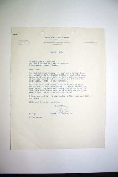 1947 Bobby Jones Signed Letter Referencing His Play at Gavea CC Rio de Janeiro