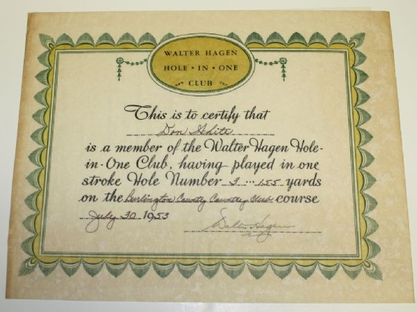 Walter Hagen Signed Hole In One Club Certificate.