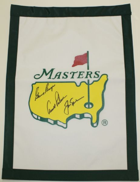 Masters Garden Flag Signed by the 'Big Three' - Gary Player, Arnold Palmer, and Jack Nicklaus