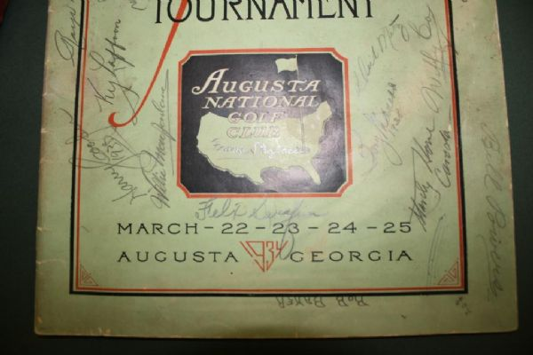 1934 Masters Program signed by 13 Pros Including Hogan, Nelson, Willie Macfarlane + JSA COA