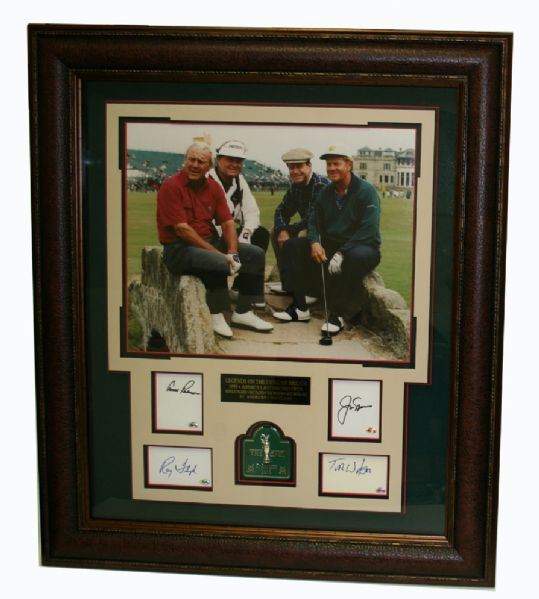 1995 British Open Photo with autographed cuts - Raymond Floyd, Arnold Palmer, Jack Nicklaus, Tom Watson JSA COA