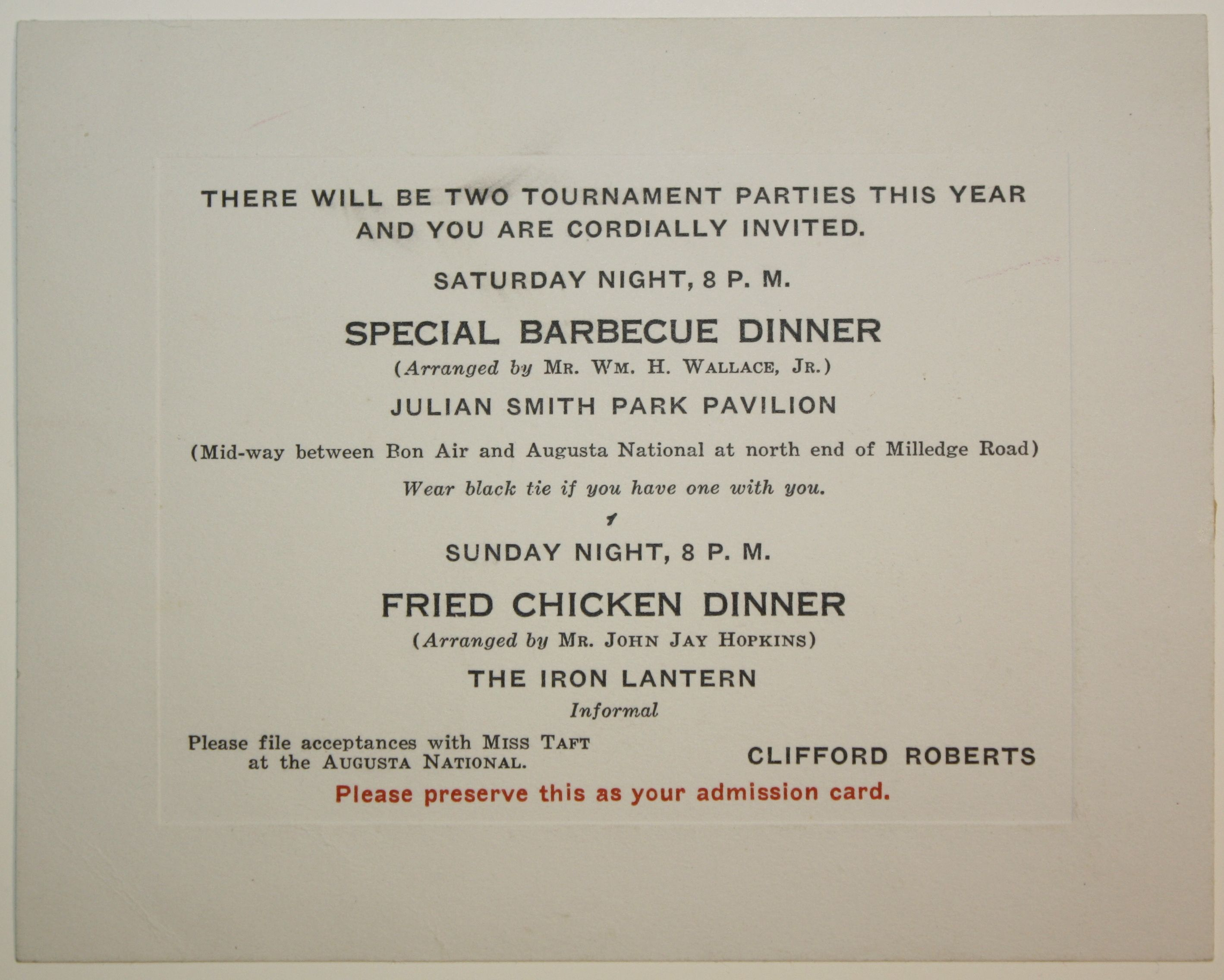 Lot Detail - 1939 Masters V.I.P. Party Invitation From Clifford Roberts