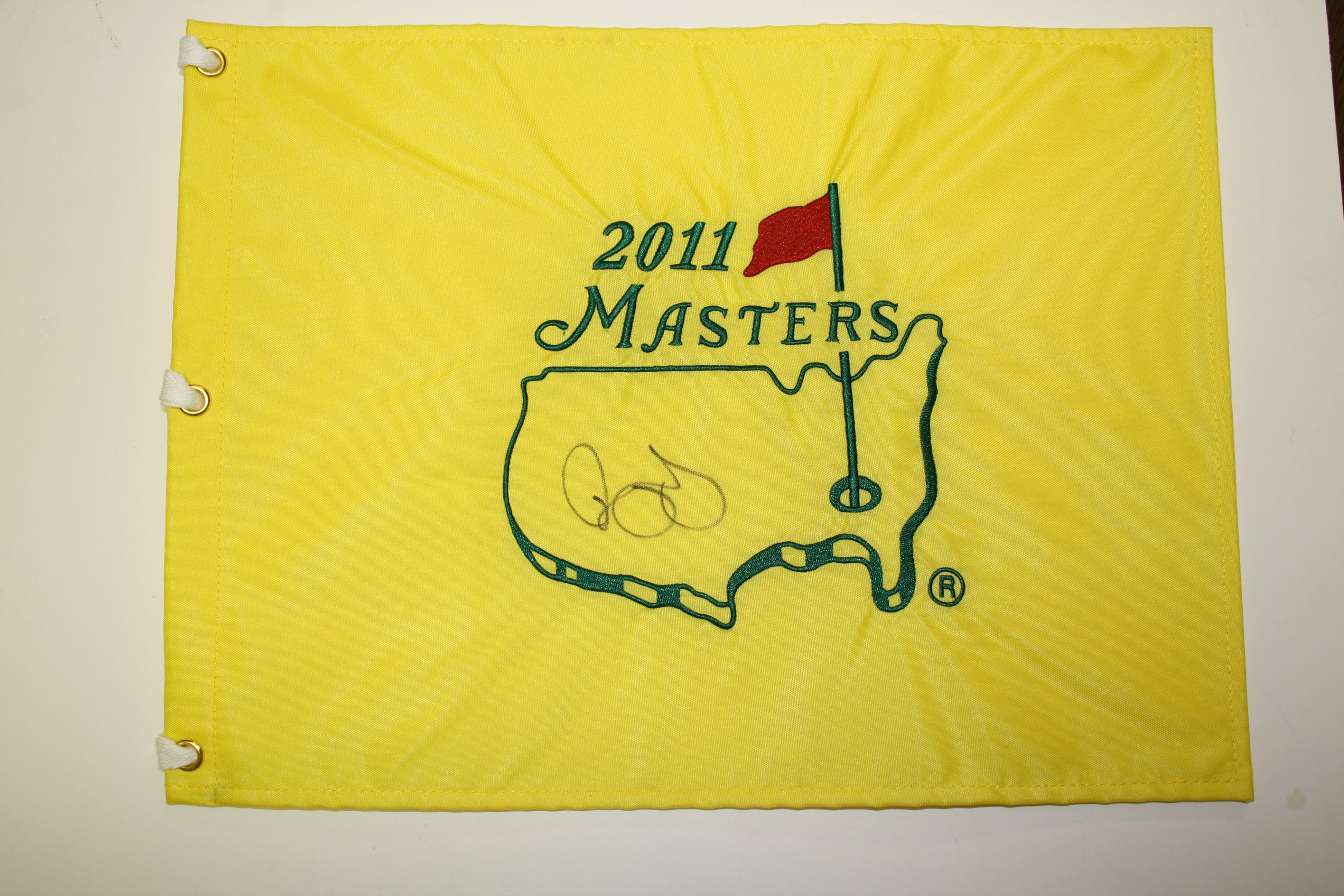 lot detail - rory mcilroy signed 2011 masters embroidered flag