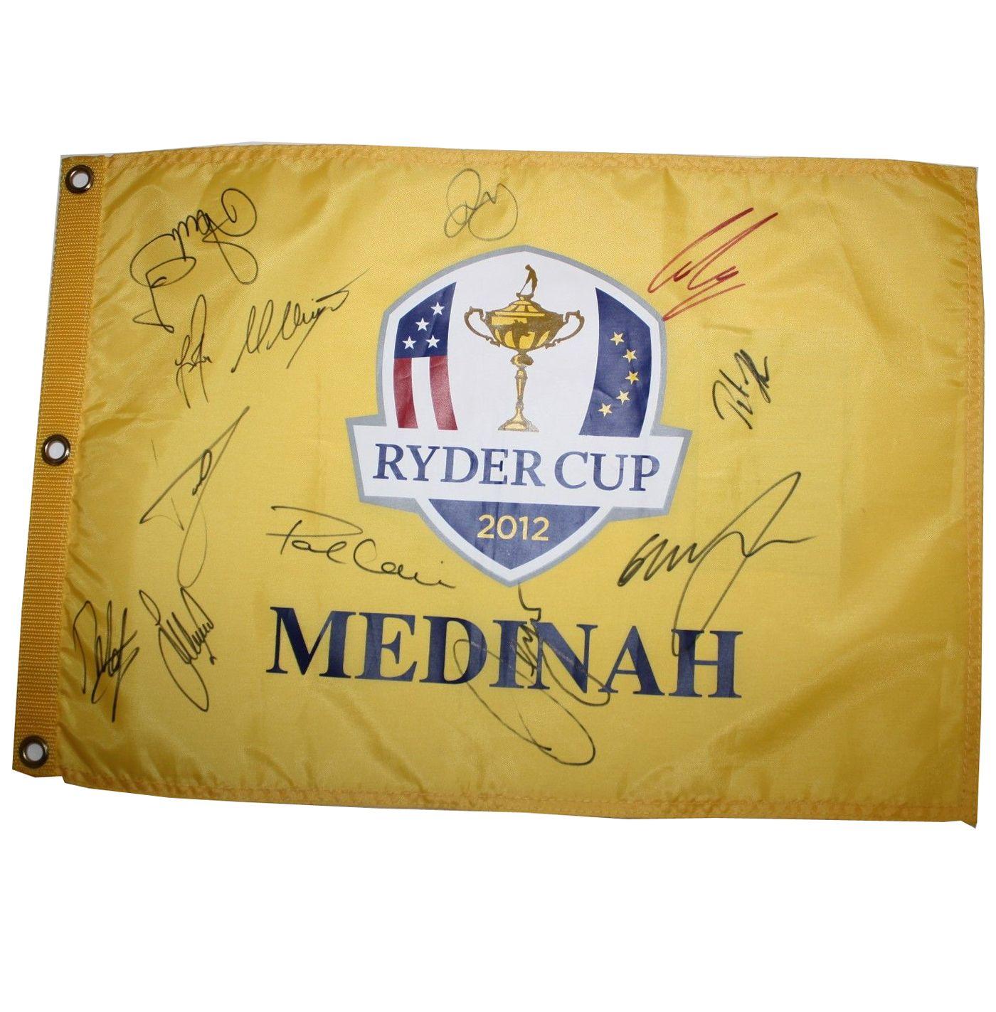 lot detail - 2012 team europe signed ryder cup flag