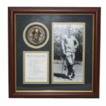 Byron Nelson Framed Signed Photo and Medal Commemorating The Unforgettable Year