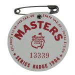 1964 Masters Badge - Arnold Palmer  4th and Final Masters Victory