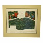The Olypmic Club 1987 US Open Course Print Signed by Artist To Jack Fleck JSA COA