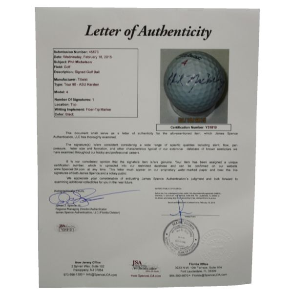 Phil Mickelson Signed ASU Logo Golf Ball - From Caddy Hall of Famer-JSA Full Letter #Y31810