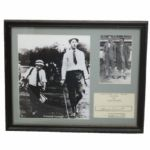 Francis Ouimet Framed Autograph Sourced from Collection of Mark Emerson JSA COA