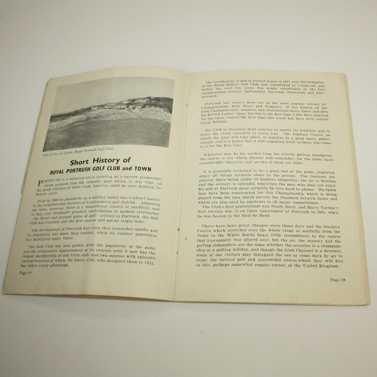The missing piece tampa fl -  1951 Open Championship Wed Thurs Program Royal Portrush Plus Pairing Sheet Missing Piece