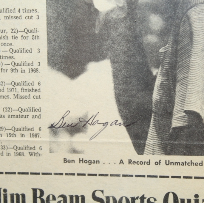 Lot Detail - Ben Hogan Signed Newspaper Article \'Hogan Stands Alone ...