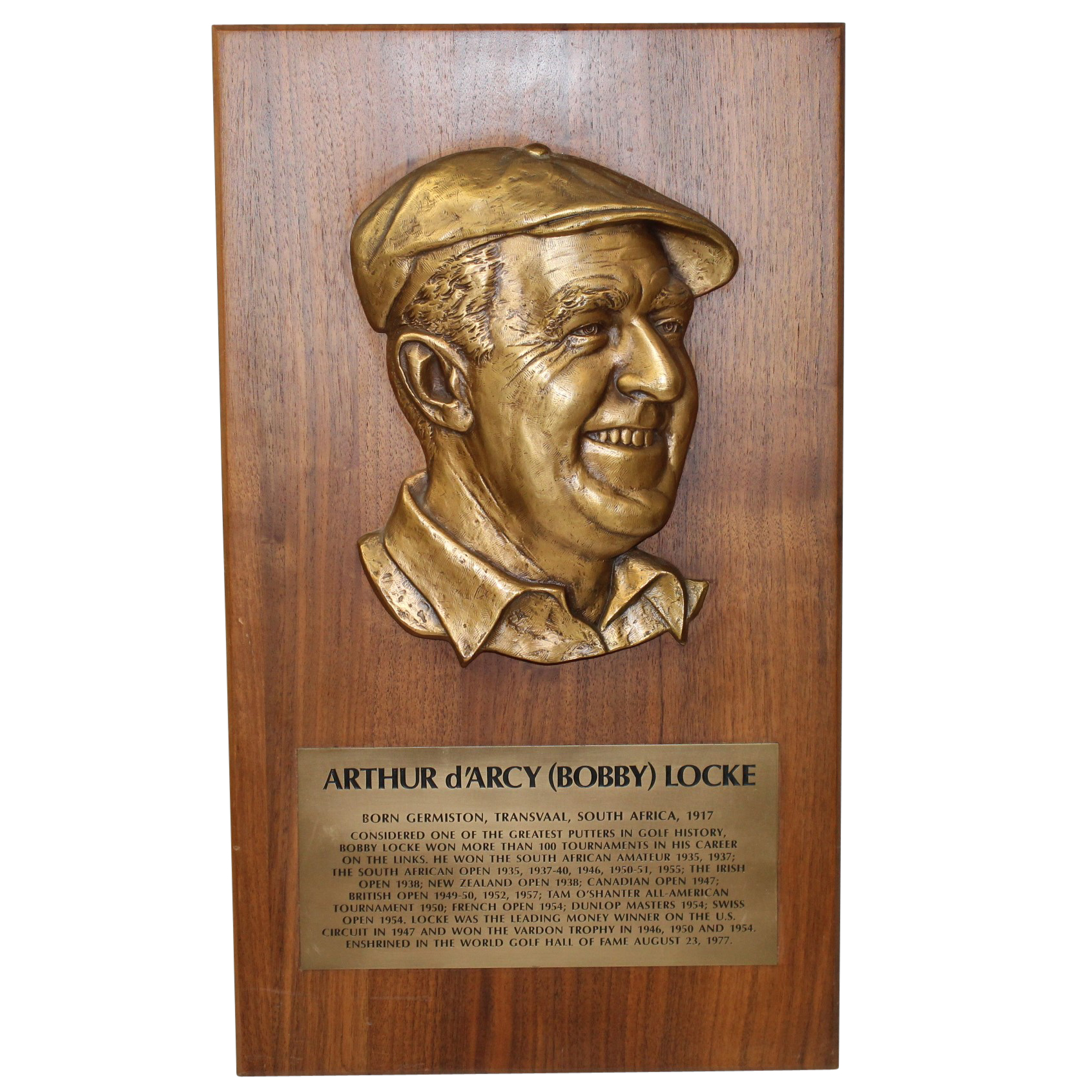 Lot detail personal bobby arthur d 39 arcy locke world golf hall of fame - Plaque a induction 1 foyer ...