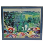 Arnie In The Rain: Arnold Palmer Augusta National 1973 Print by LeRoy Neiman - Framed