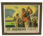 "St. Andrews - The Home of Golf"" Famous Poster from 1939 Advertising by Artist Arthur C. Michael - Framed"