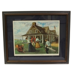"Shinnecock Hills ""First Clubhouse in America - 1892"" Sportsmans Eyrie 1967 Print - Framed"