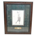 Bobby Jones 2001 Masters Sketch Signed by Artist Jim Fitzpatrick - Framed