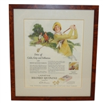 Groves Bromo Quinine Tablets Advertisement Featuring Female Golfer -Framed