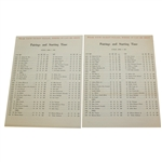 Lot of Two 1963 Masters Tournament Sunday Pairing Sheets