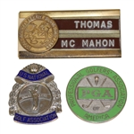 Three Badges - PGA, US National Golf Assoc., & Palm Springs Senior Golf Assoc.- McMahon Collection