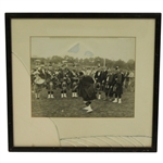 1940s Skokie Day Kilt Golf Photo with Piece of Kilt - Framed - Chicago Ill. Suburb - McMahon Collection