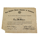 1964 Los Angeles Open Tournament Committee Certificate to Tom McMahon - McMahon Collection