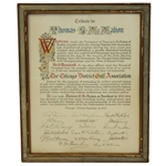 1943 Chicago District Golf Association Tribute Award to Thomas G. McMahon - Framed - McMahon Collection
