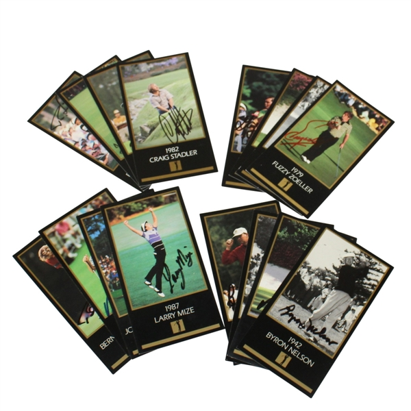 Sixteen Signed Masters Grand Slam Ventures Cards - Including 1942 Nelson JSA ALOA