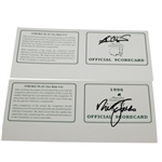 1995 & 1996 Masters Tournament Official Scorecards Signed by Champions Faldo and Crenshaw JSA ALOA