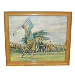 Dom Lupo Wood Framed Art Piece - Bobby Jones Post Swing in Blue Shirt