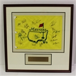 Masters Undated Flag Signed by 17 Including Two Masters Champs - Framed JSA ALOA