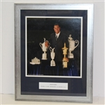Tiger Woods Framed Giclee with Grand Slam Trophies & Amateur Trophy - Framed