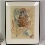 LeRoy Neiman Signed 1970 Johnny Bench Ltd Ed #147/200 - Framed JSA ALOA