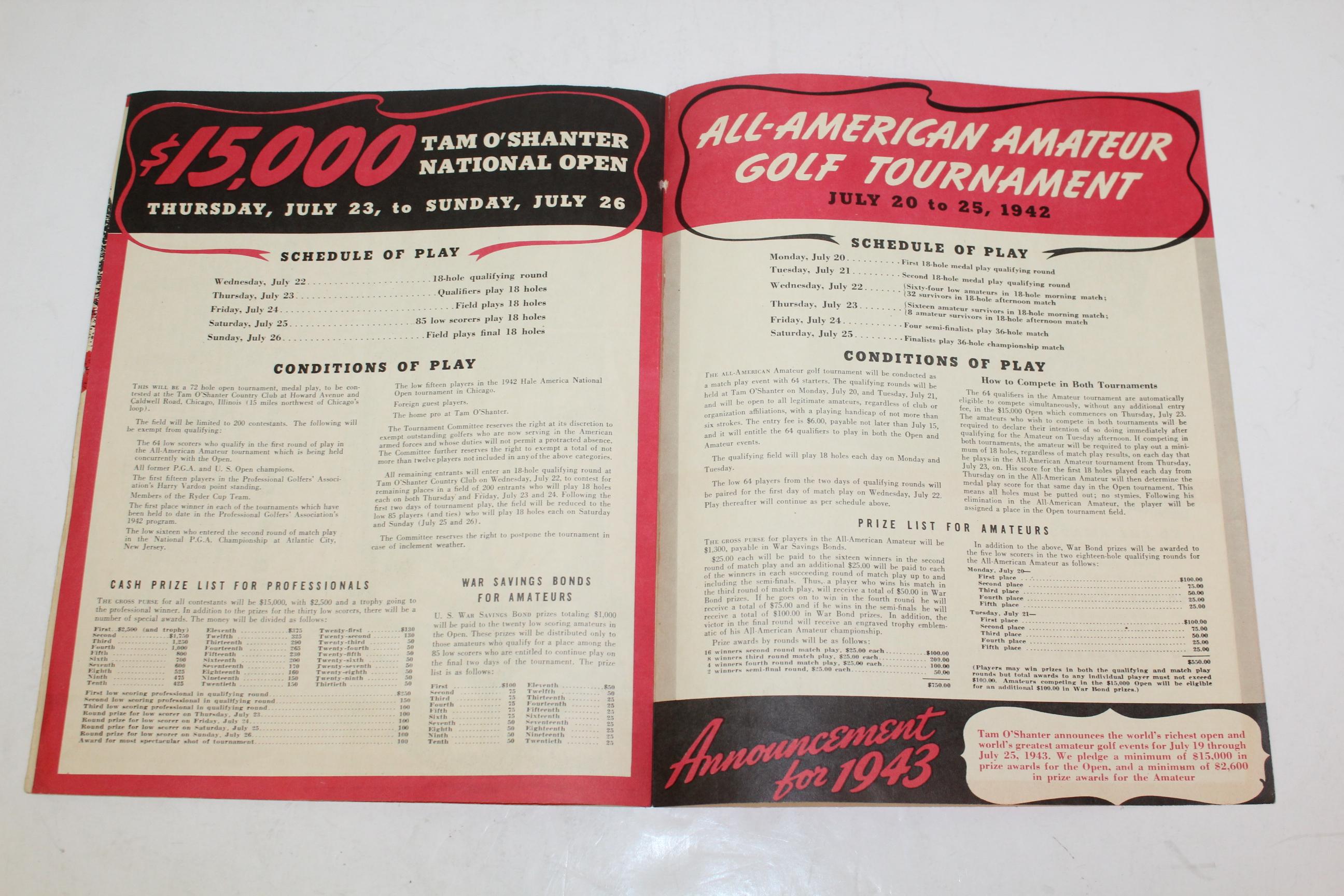 Lot Detail 1942 National Open AllAmerican Amateur Golfer