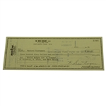 Ben Hogan Personal Check to Masters Tournament for 4 Series Badges JSA ALOA
