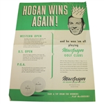 Hogan Wins Again! Playing with MacGregor Clubs Original Advertising Poster From Ben Hogan Personally
