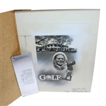 Bobby Jones Production Art & Engraving Plate - Augusta National Clubhouse Seldom Seen