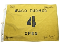 1960s Waco Turner Open Course Flown #4 Flag Signed by Pete Brown First African American to Win PGA Event JSA ALOA