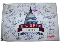 Multi-Signed 2011 US Open at Congressional Embroidered Flag - 40+ Autos JSA ALOA