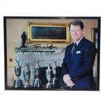 Tom Watson Signed Championship Trophies Photo with 5 Open Championships JSA ALOA