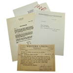 Ed Sullivan Letter to Ben Hogan and Western Union Telegram Correspondence